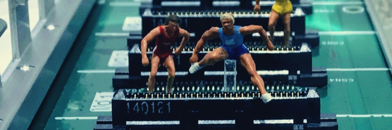 three people hurdles